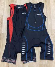 Set of 2 SLS3  FRT Cycling Triathlon bib Race Suit Black Red  sleeveless Sz M