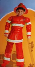 Boys Fireman Red Fire Man Fighter Muscle DELUXE Costume Hard Hat Toddler 2T NEW