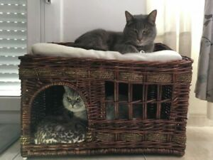 Wicker Woven Pet Dog Cat Bed House Animal Two Tier Den Basket Rattan Cushions