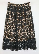 WHOIAM Brand Tan Lined Black Lace Over Midi Skirt Size 10 BNWT #SK88