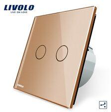 Touch Doppel Wechselschalter Kreuzschalter Gold Kristall Glas LIVOLO VL-C702S-13