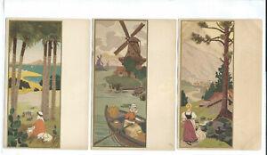 Artist Signed Medsille 3 Postcards