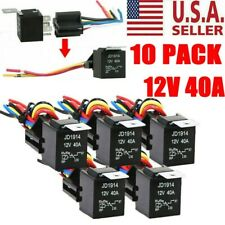 10 Pack 12V 30/40 Amp 5-Pin Spdt Automotive Relay w/ Wires & Harness Socket Set