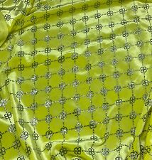 Yellow with Silver Glitter FLORAL LINK - STRETCH VELVET Fabric 1/4 yard remnant