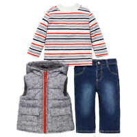 NEW!! Little Me Boy's 3-Piece Hooded Vest Shirt And Denim Pants Variety in Size