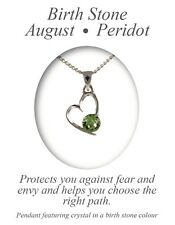 Angelys August Birthstone Peridot Heart Pendant Necklace Birthday Xmas Gift Box