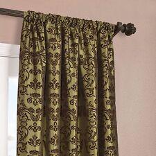 Firenze Fern Flocked Faux Silk Curtain Panels -2 piece