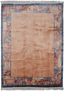 Magnificent Vintage Art Deco Rug Silk Chinese Rug Silk Handmade Oriental 8x11