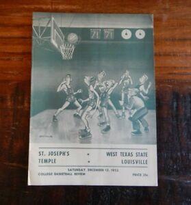 1952 ST JOSEPH'S-WEST TEXAS STATE & TEMPLE-LOUISVILLE COLLEGE BASKETBALL PROGRAM