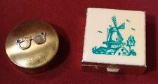 Vintage Japan Brass Horn Rimmed Eye Glasses & Windmill Divided Pill Box Lot