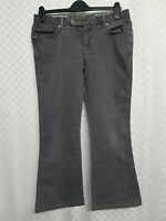 KAREN MILLEN Denim Jeans Size 12 W32 L26 Dark Grey Bootcut Low Waist Pockets Zip