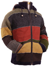 LAUNDROMAT PATCHWORK WOOL SWEATER MEN'S XL RED/BROWN FLEECE LINED ZIPPER JACKET!