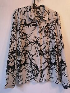 Blouse 14 M & S Grey Black Abstract Design Long Sleeve Crepe Button Up Shirt