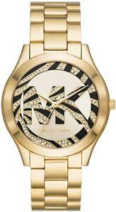 NWT Rare Michael Kors MK4561 Ladies Slim Runway 42mm Black & Gold Tone Watch