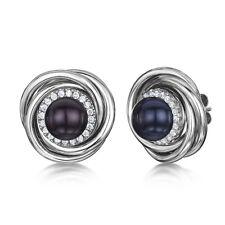 Titan Damen Schwarze Perle & Multi Cz Steine Runder Silberner Ohrringe