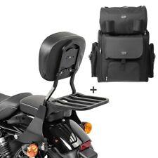 Sissybar sb1 + bolsa popa para Harley sportster 883 Custom 04-10 negro