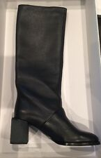 See by Chloe Black Leather Round Toe Boots w/ Block Heel 38