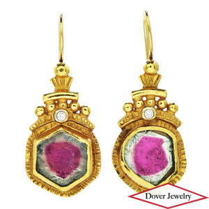 Designer Diamond Watermelon Tourmaline 18K 22K Gold Dangle Earrings 7.5 Grams NR