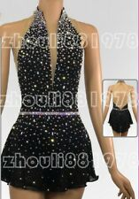 Free shipping Women Ice Skating Dress Competition Ice Figure Skating Dress black
