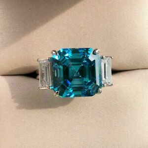 4CT Asscher & Baguette Cut London Blue Topaz Engagement Ring 14K White Gold Over