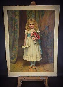 """Rare authentique grande Chromo-lithographie """" Le compliment»1889 - C.T. Garland"""