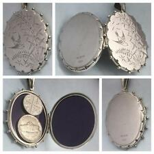 IMMACULATE SUPERSIZED 'PICTORIAL ENGRAVED' VICTORIAN SILVER LOCKET HM B'HAM 1882