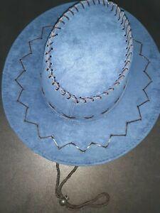 LOT OF 2    BLUE  Faux Leather Cowboy Hat