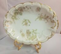 Antique French Porcelain Limoges Haviland Green Pink Gold Serving Bowl 10 x 8""