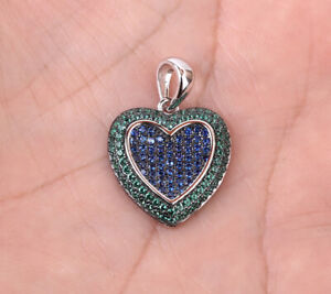 HEART EMERALD .925 SOLID STERLING SILVER PENDANT #33787