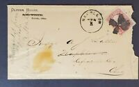 1800s Toledo to Defiance County Ohio Oliver House Advertising Fancy Cancel Cover