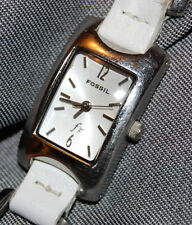 FOSSIL ES1119 White Leather Square Link Stainless Steel Women's Watch NEW BATT
