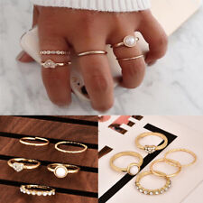 5Pcs/Set Crystal Gold Stackable Ring Sparkly Rings Vintage Boho Jewelry