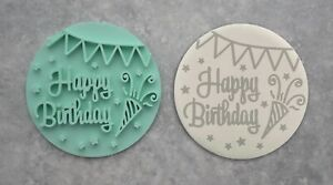 Happy Birthday Embosser Stamp Cookie Fondant Biscuit Bunting Party Popper