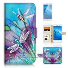( For Huawei Y7 ) Wallet Case Cover P21094 Dragonfly