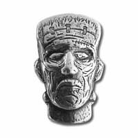 1.5 oz. 999 Fine Silver Frankenstein Head - 3 D - Monster Head Bar - New