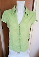 Per Una Marks & Spencer Womens Green Embroidered Blouse Size 14
