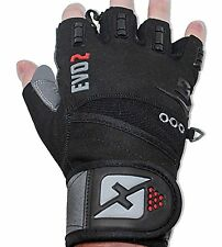 2016 Evo 2 Weightlifting Gloves with Integrated Wrist Wrap Support [LARGE]