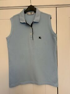 Ladies Burberry 100% Cotton, Pale Blue Sleeveless Top, Size M