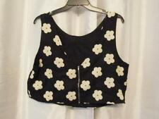 NWT Soprano Floral Zipper Back Tank Black White Top 1X Large Org $49.00