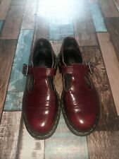 Cherry Red Doctor Martens Shoes School Buckle VEGAN POLLEY  UK 4 VGC Mary Jane