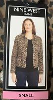 Nine West Jean Jacket Womens Sz S Sarah Denim Tan Bengal Bonanza-Leopard NWT FS