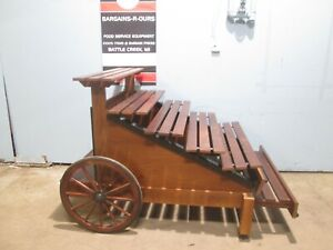 """INNOVATIVE "" HD COMMERCIAL WOODEN PRODUCE/SUNDRY DISPLAY MERCHANDISER WAGON"
