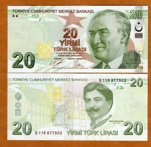 Turkey, 20 Lira 2009 (2020), P-224d E-Prefix New Sig. UNC > Architect