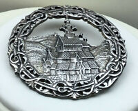 Tinn Norway Pin Cast Silver Embossed Village Large Round C Clasp Brooch
