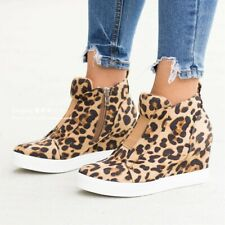 Womens Med Hidden Wedge Heels Leopard Zipper Side Ankle Boots Casual Shoes SIZE