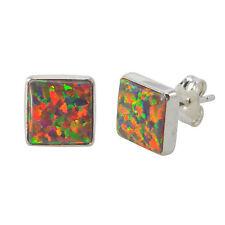 Orange Opal Stud Earrings Sterling Silver 9mm Square