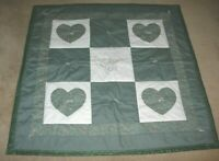 HANDMADE MACHINE MADE QUILTED Quilt LAP BABY CRIB BLANKET green white cat 42X42