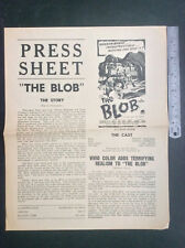 THE BLOB rare Australia PRESS SHEET cinema movie advertising horror 50s kit book
