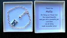 PERSONALISED BRIDESMAID GIFT THANK YOU WEDDING KEEPSAKE INITIAL CHARM BRACELET