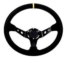 "STR Steering Wheel 2"" Dished with Black Suede, Centre Yellow Tab. Drifting Rally"